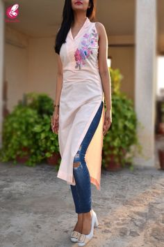 Rs1899, Buy this Peach Pure Linen Embroidered Kurti by Colorauction from www.colorauction.com #kurti #embroidered #linen #peach #colorauction