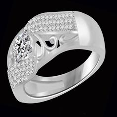 1/2ct White Gold Round Cut VVS1 Diamond Fashion Band Ring #jewelryauctionhouse #FashionBand