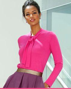 Puseron sidottava rusettinauha toimii kaulakoruna Vermont, Amy, High Neck Dress, Blouse, Long Sleeve, Sleeves, Tops, Dresses, Women