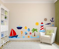 Fabric Wall Decal Set for Boy's Nursery and Kids Rooms - Nautical Beach Room Wall Decor - Summer Wall Graphics - Children's Bedroom Decor Classroom Wall Decor, Classroom Walls, Ocean Themed Nursery, Nursery Themes, Childrens Bedroom Decor, Baby Room Decor, Beach Room, Interior Exterior, Wall Colors
