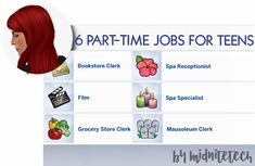 PART TIME JOBS FOR TEENS Ive converted 6 part-time jobs for teens from The Sims 3 reimagined for Ive changed some of the job titles to keep in with my OCD nature of having to have realistic job titles. These are all separate