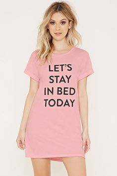 "Let's stay in bed today"" . because it's cozy, comfortable, and feels perfect. Stay In Bed Graphic Nightdress / Pajamas Cute Pjs, Cute Pajamas, Loungewear Set, Sleepwear Women, Pajama Outfits, Cute Outfits, Pijamas Women, Shirt Print Design, Sexy"