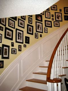 photo wall with black frames