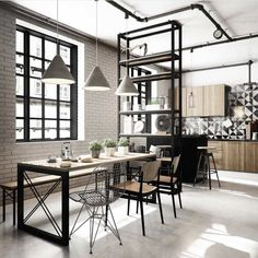 50 Enchant Industrial Dining Room Design with California Style Ideas - Decorate Your Home Office Interior Design, Home Interior, Kitchen Interior, Loft Kitchen, Modern Interior, Kitchen Black, Kitchen Dining, Kitchen Modern, Kitchen Decor