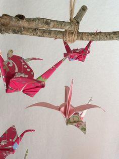 Baby Crib Mobile - Origami Crane Mobile - Pink Girl Mobile - Nursury Mobile - Crib Mobile - Nursury Decor - Paper Crane Mobile -Paper Mobile