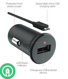 Turbo Power 15W GIGABYTE GSmart Alto A2 Car Charger with Detachable Hi-Power MicroUSB Cable!