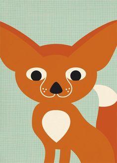 Miss Honeybird Animals fox Simone Hulsker Fennec Fox, Fabric Stamping, Little Fox, Ink Stamps, Green Backgrounds, Baby Photos, Pikachu, Handmade, Animals