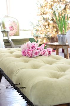 FRENCH COUNTRY COTTAGE: Velvet Button Tufted Bench