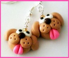 Polymer Clay Puppy Earrings. $5,00, via Etsy.