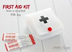 Do you have an old milk jug taking up room in your recycling bin? Turn it into a handy first aid kit
