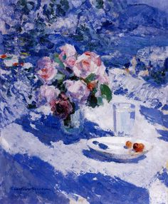 The Athenaeum - Roses on the Terrace, Crimea (Constantin Alexeevich Korovin - ) Oil Painting Techniques, Mosaic, Watercolor, Pictures, Inspiration, Image, Design, Terrace, Roses