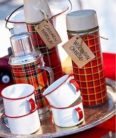 A thermos for soups for outdoor winter party.....fun winter party theme