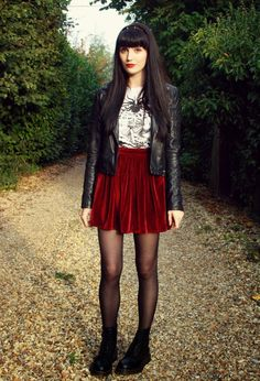 Loving the look: red skirt and leather jacket