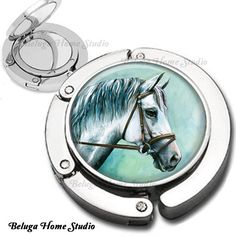 Horse Foldable Purse Hook Bag Hanger With Double Sided Compact Mirror. $19.75, via Etsy.