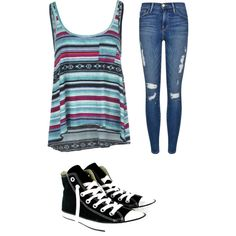 A fashion look from December 2014 featuring Billabong tops, Frame Denim jeans and Converse sneakers. Browse and shop related looks.