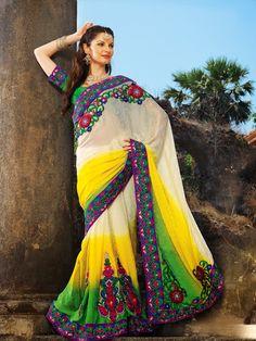 Alluring Gold Color & Off White Embroidered Saree | StylishKart.com