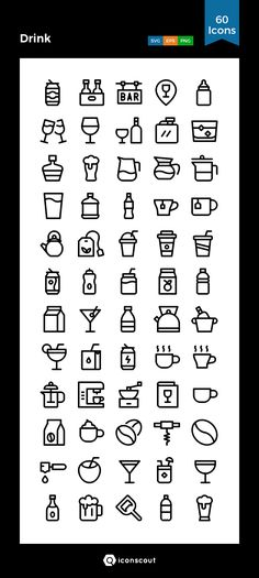 Drink   Icon Pack - 60 Line Icons