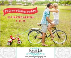 Pregnancy announcement with bikes and little red tricycle