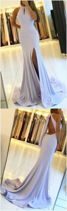 Sexy Side Slit Mermaid Halter Lilac Floor Length Custom Long Evening Prom Dresses, 17368