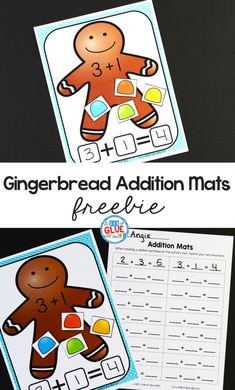 Gingerbread Addition Mats help students learn to add with a fun seasonal theme so they are more prepared to understand the concepts behind math problems. Christmas Math, Preschool Christmas, Kindergarten Classroom, Kindergarten Activities, Winter Activities, Subtraction Activities, Spelling Activities, Numeracy, Math Stations