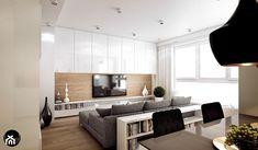 BORA KOMOROWSKIEGO - Średni salon z jadalnią, styl nowoczesny - zdjęcie od KAEEL.GROUP | ARCHITEKCI