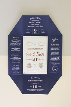 """I don't love this specific all-in-one folding format, but I do like the idea of having all the """"extra info"""" in a single, interesting piece, as well as the deep blue and the sense of fun. This is NOT what I want; just an example of something that caught my attention. // WEDDING INVITATION GUIDE : Julia Jacque"""