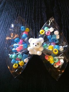 "4.5"" Vinyl Bear Bow with Beads by TeacherPackRat on Etsy, $2.00"