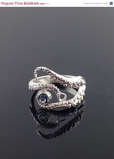 ❤️ Aquamarine Seductive Tentacle Ring, Sterling Silver, Engagement Ring, Wedding Band, Octopus Jewelry by OctopusMe on Etsy Octopus Ring, Octopus Jewelry, Octopus Tentacles, Sterling Silver Rings, Silver Jewelry, Gold Jewellery, Jewlery, Piercings, Jewelry Accessories