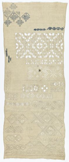 Sampler, 17th century Medium: silk and linen embroidery on linen Technique: double running, long-armed cross, eyelet, satin, buttonhole, marking cross, cross, herringbone and back stitches, withdrawn element work with needle lace fillings.