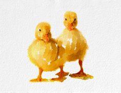 Ducklings Art Print   Bird black orange yellow by NovosadArtPrints, $20.00