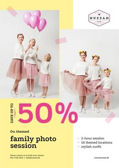Family Photo Session Offer Mother with Daughters — Create a Design Family Photo Sessions, Family Photos, Edit Online, Online Posters, Marketing Materials, Daughters, Stylish Outfits, Ecommerce, Childhood