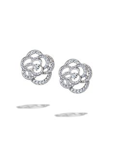 Chanel Camélia Earrings in 18K white gold and diamonds. Available at the Chanel Fine Jewelry Boutique at London Jewelers, Americana Manhasset. For more information, please call (516) 918-2700 to speak to a Chanel Fine Jewelry representative.