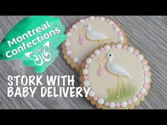 How to make a stork cookie - Classic baby shower cookie - YouTube