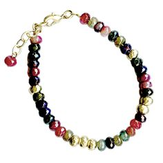 Colorfull Agate Bracelet | The gallery shop Stunning colorfull agate beads bracelet. There are matching necklace and earrings. Made by Danon.