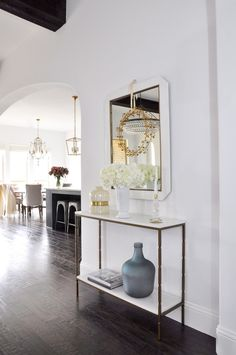 Console table and mirror in living room makeover project