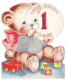 VINTAGE 1 YEAR BIRTHDAY CARD - cumpleaños