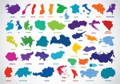 Europe Country Outline Map Vectors (Free) | Free Vector Archive