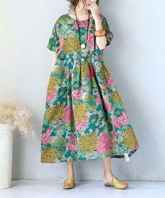 Flowers Print Linen Maxi Dress Chinese Plus Size Senior Woman Dress #maxi #floral #dress #linen #plussize #woman #senior #elderly