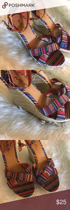 Colorful wedges Size 9. MIA wedges.  Ankle strap. MIA Shoes Wedges