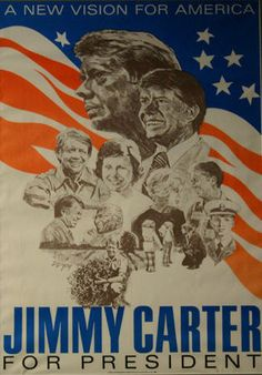 Jimmy Carter, 1976 Although I'm not a supporter of him as an adult, having a president from Georgia was such a big deal to those of us growing up here Presidents Wives, American Presidents, American History, Campaign Posters, Political Posters, Jimmy Carter, Back In The Day, In This World, Childhood Memories