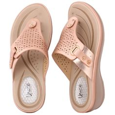 Women BLAKELY Perforated Thong Comfort Wedge Slippers - Slippers - Women's Shoes Women Shoes for work Open Toe Sandals, Strap Sandals, Women's Shoes Sandals, Women Sandals, Shoes Women, Baby Slippers, Womens Slippers, Slipper Boots, Slipper Sandals