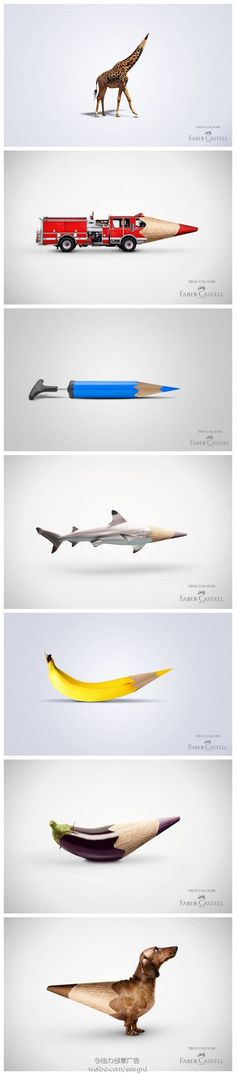 Collection of Faber Castell Ads. Beautiful Minimalist Print Ads. www.momentum18.com/blog/beautiful-minimalist-print-ads/