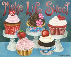 Make Life Sweet Cupcakes. Candy Colored Edition Art Print by Jennifer Lambein. Sweet Cupcakes, Love Cupcakes, Cupcake Kunst, Cupcake Torte, Chocolates, Cupcake Illustration, 3d Home, Decoupage Paper, Kitchen Art
