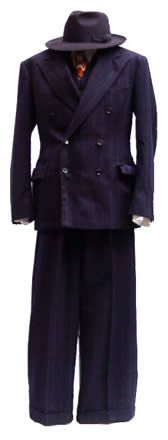 1930s suit double breasted wide trousers fedora navy