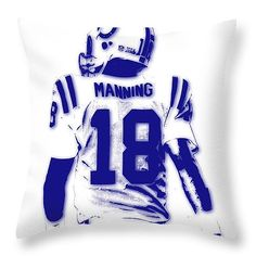 "Peyton Manning Colts 2 Throw Pillow 14"" x 14"" by Joe Hamilton"