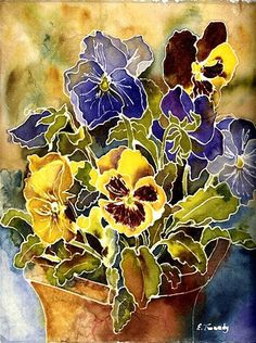 Image detail for -Elaine Tweedy - Canadian Artist - Mom's Pansy Pot