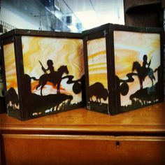 Ca 1930s Hand-Cut Copper Wall Sconces with Stained Glass $145 Pair  #andersonville #artsandcrafts #antiqueshop