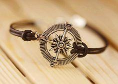 Leather Bracelet Compass bracelet Nautical Charm Wrap Bracelet