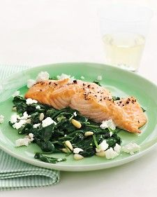 Broiled Salmon w/ Spinach and Feta Saute    http://www.marthastewart.com/316859/broiled-salmon-with-spinach-and-feta-sau?czone=food/fish-and-shellfish/fish-and-shellfish-favorites&center=344318&gallery=343350&slide=257639