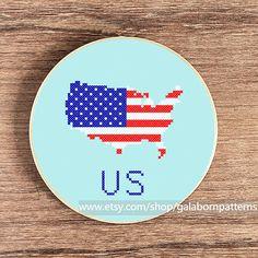 United States map PDF counted cross stitch by galabornpatterns